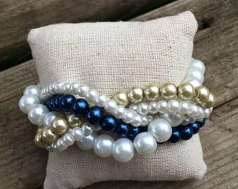Braided cuff, white pearl bracelet, bridesmaids bracelet, navy pearl bracelet, pearl bracelet, statement bracelet, navy bridesmaids, navy