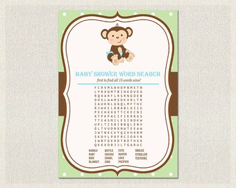 Word Search | Monkey Baby Shower Games Blue Green Polka Dots | Word Search quiz  Boy Baby Shower BS-131