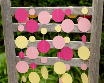 Lemonade stand, lemonade party, pink and yellow garland, birthday garland, summer party, pink lemonade, table garland, highchair garland