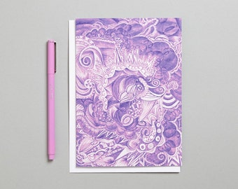 Purple doodle/zen art blank greeting card produced/printed in the UK