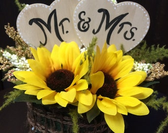 Rustic Sunflower Mr. & Mrs. Wedding Cake Topper ( Your Own Personalized Message Available)