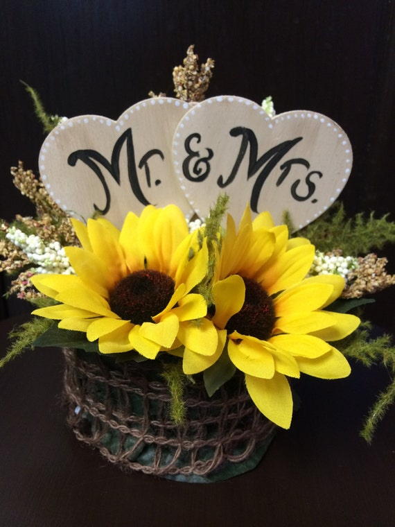 sunflower cake toppers wedding rustic sunflower mr amp mrs wedding cake topper your own 7824