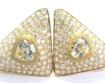 18KT SPADE SHAPE Fancy Light Yellow Diamond Earrings YG 9.70CT