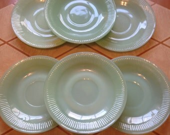 Set of 6 Fire King Jane Ray Jadeite/Jadite Saucers