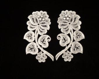 Venise Lace Flowers - Left & Right Pair