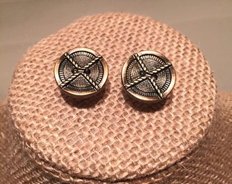 Bronze Rope Button Earrings
