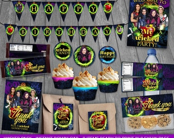 Descendants Party Package - INSTANT DOWNLOAD - Descendants Birthday Party - Party decoration - cards tags wrappers signs labels toppers  Mal