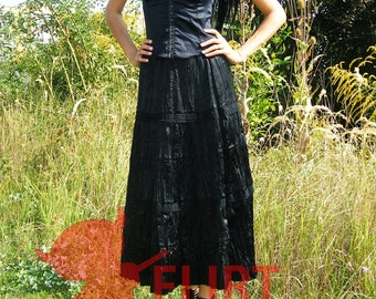 Black long Gypsy Skirt with natural cotton black lace Elastic Waist