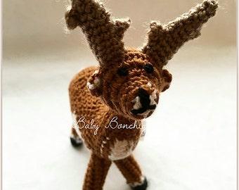 Christmas toy crochet reindeer xmas gift birthday baby todler miniature amigurumi
