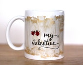 Wife Gift- Girlfriend Mug- Valentines Mug- Unique Coffee Mugs- Lady Bug Mug- Golden Coffee Mug- Nature Mug- Coffee Lover Gift