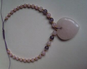 Rose Quartz friendship necklace