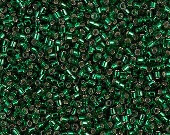 Delica 11/0 Miyuki Beads Silver Lined Emerald - DB0148