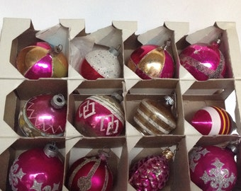 Vintage Christmas, Christmas Ornaments, 1940s to 1960s, Set of 12, Pink/Silver/Gold Ornaments, Christmas Decor, Vintage Ornaments, Holiday