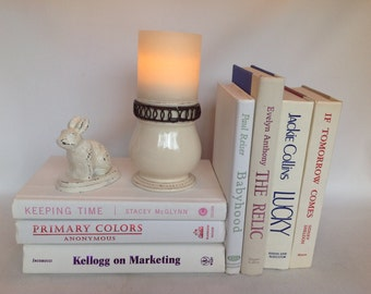 Vintage Book Stack, Vintage Books, Creams & White, Set of 7, 1985 to 2010, Old Books, Wedding Decor, Instant Library, Book Decor, Home Decor