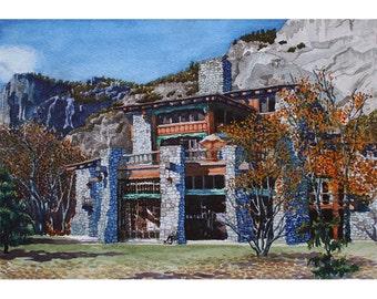 Yosemite - Note Card - Giclee - Ahwahnee Hotel
