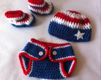 4th of July Outfit Newborn Crochet Baby Outfit  Newborn Photo Prop Patriotic Newborn Outfit, Red White Blue 4th of July Crochet Baby Outfit