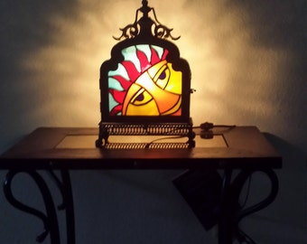Lantern / Stained Glass / metal frame