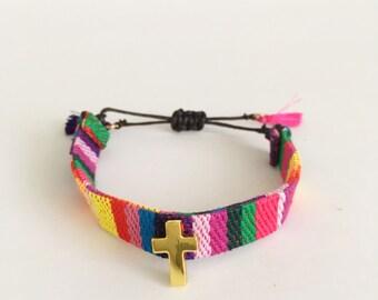 Woven Multicolor Cross Charm Bracelet