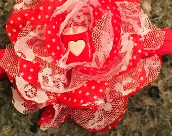 Red and white hot coco headband