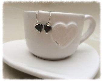 Silver plated Hematite heart earrings