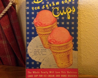 "Vintage Delicia Ice Cream Cone Cups ""Box Only"""