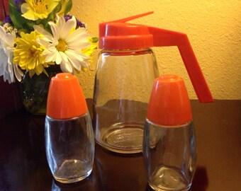 Vintage Orange Kitchen Set - Federal Housewares Syrup Dispenser and Matching Orange Salt and Pepper Shakers