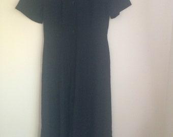Black Short Sleeve Dress, 90s style, Size 10-12, Size S-M
