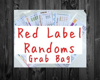 Red Label Random Mystery Grab Bags-planner sticker grab bag
