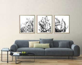Black tree art Black and white download Black modern wall art black art print Black printable Black wall art decor Black nature art