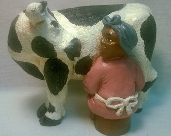 "Handpainted ""Lady Milking Cow"" Figurine"