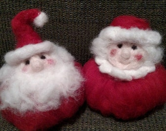 Wool Felted Santa and Mrs. Claus, needle felted Santa,