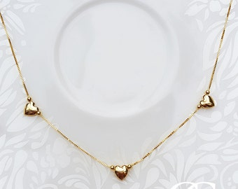 """Fine 9ct Yellow Gold Three Heart Charm Box Chain Necklace 16.5"""""""