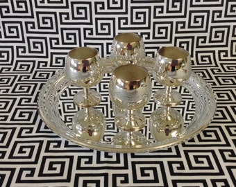Silver Servings~Sheridan Silver~Silver Plated~Brandy Cordials~Set of Four~Serving Tray~Original Box