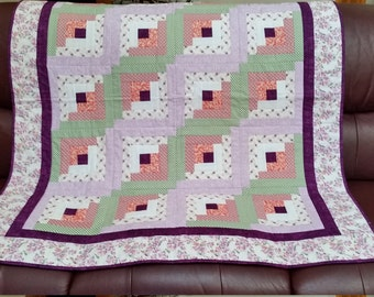 Purple floral log cabin quilt