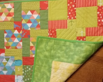 Green and Orange Anchors Baby Quilt or Play Mat
