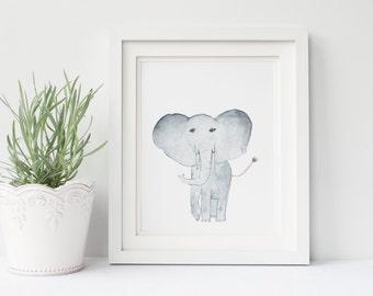 WATERCOLOR PRINT, Elephant Watercolor Nursery Safari Print, The Nursery Collection, Safari Animals.