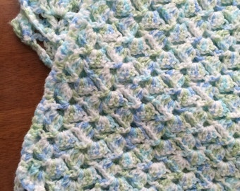 Crochet Baby Blanket in Blue, Green and White