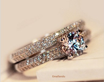 2in1 simulated diamond Genuine Topaz 925 Sterling Silver Engagement Wedding Band Ring size 4-9