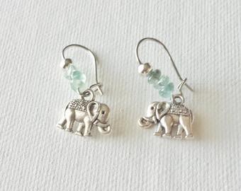 Silver Elephant Earrings - Handmade Beaded Earrings, Silver Dangle Earrings