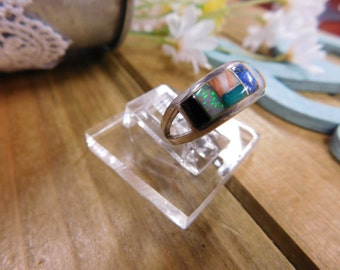 Colorful Sterling Silver Inlay Band