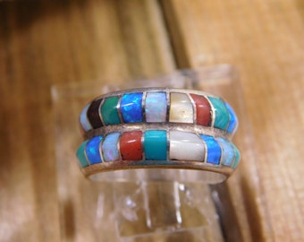 Colorful Double Band Inlay Ring Zuni