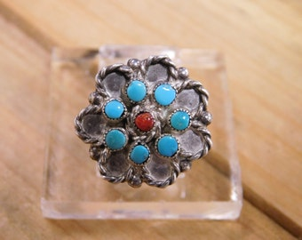 Delicate Sterling Silver Turquoise and Coral Flower Ring Size 5.75