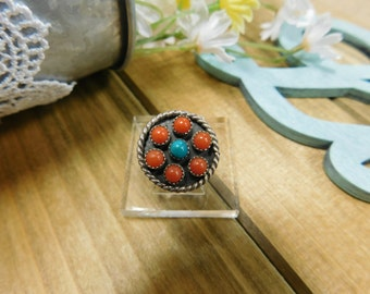 Vintage Coral and Turquoise Cluster Silver Ring-SOLD