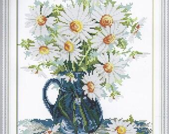 Cross Stitch Kit Daisy vase DMC threads