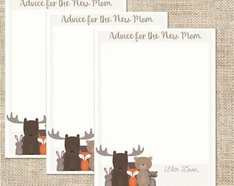Woodland Animal Baby Shower Mommy Advice Cards