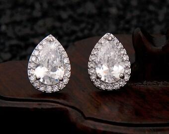 Bridal Earrings, Stud Cubic Zirconia Earrings, Teardrop Stud Earrings, Bridesmaid Earrings, Prom Earrings, Statement Earrings,