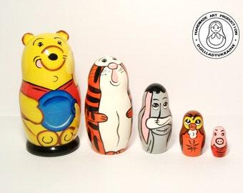 Winnie the Pooh, Disney Nesting Dolls Matryoshka 5pcs 10 cm, Winnie The Pooh Funny Gifts, Kids Room Decor, Kids Gift, Gift for Kids
