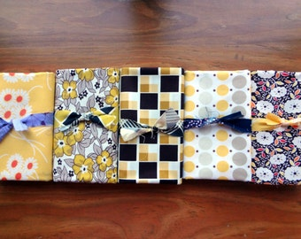 Denyse Schmidt Fabric Bundle / 5 - 1 yard cuts / Brown, Gold, Yellow & Off-White