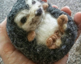 Needle Felted Hedgehog made of 100 % organic wool soft sculpture for hedgie collectors and animal lovers doubles as oil diffusing figurine
