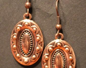 Copper Pendant Dangle Earrings